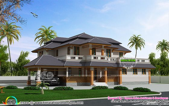 4 bedroom traditional mix sloping roof home plan