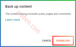 Back Up Contents In Blogger Step 3