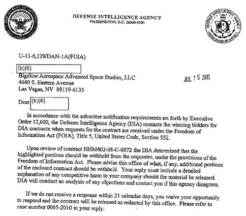 Part of an FOIA response from DIA establishing BAASS
