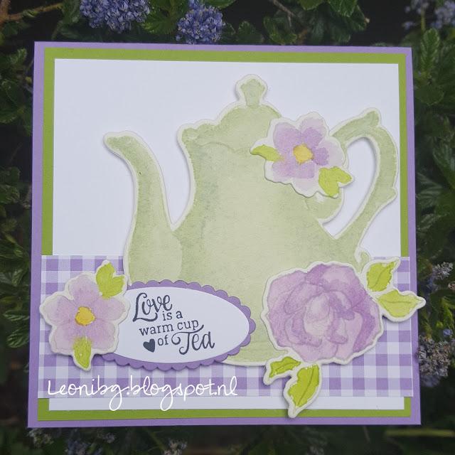 No line watercoloring | Stampin'Up! | Tea together stampset | #Creatievehartenbloghop |