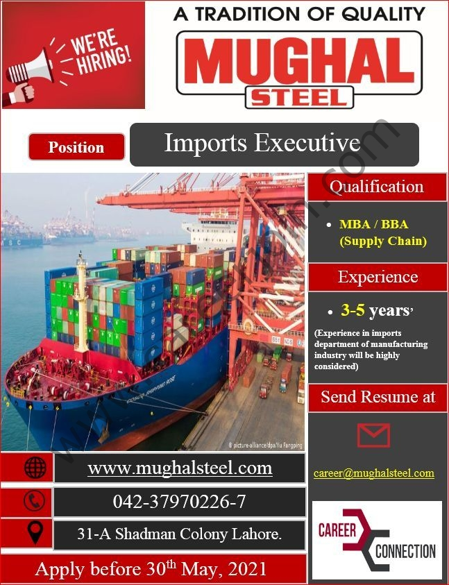 career@mughalsteels.com - Mughal Steel Jobs 2021 in Pakistan For Imports Executive Post - Mughal Steel Jobs 2021