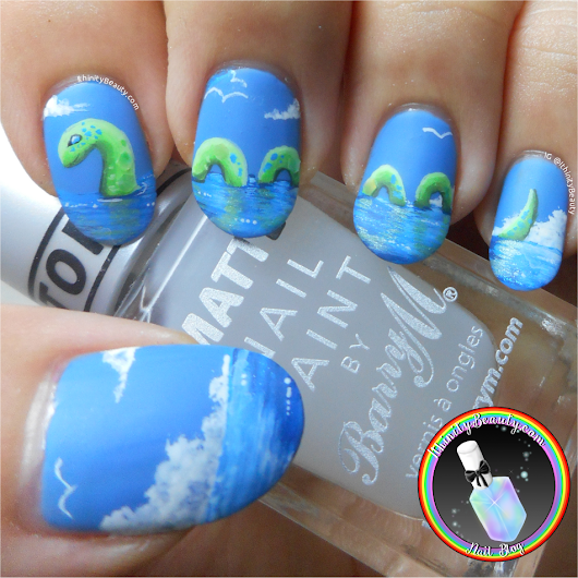 Freehand Loch Ness Monster Nail Art