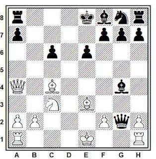 Posición de la partida de ajedrez Janovsky - Schallopp (Núremberg, 1896)