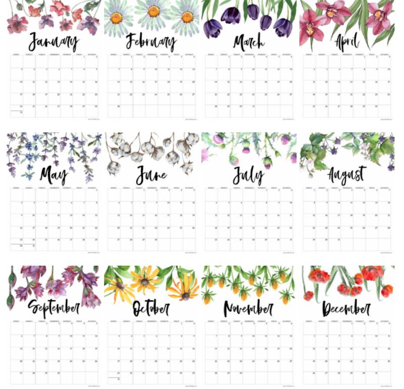 Calendario floral anual 2021 en inglés