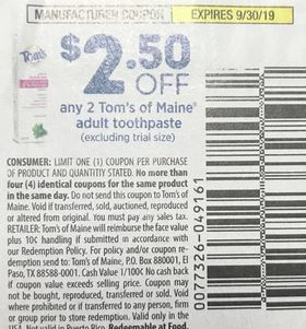 """$2.50/2 Tom's Of Maine Toothpaste Coupon from """"SMARTSOURCE"""" insert week of 8/18."""