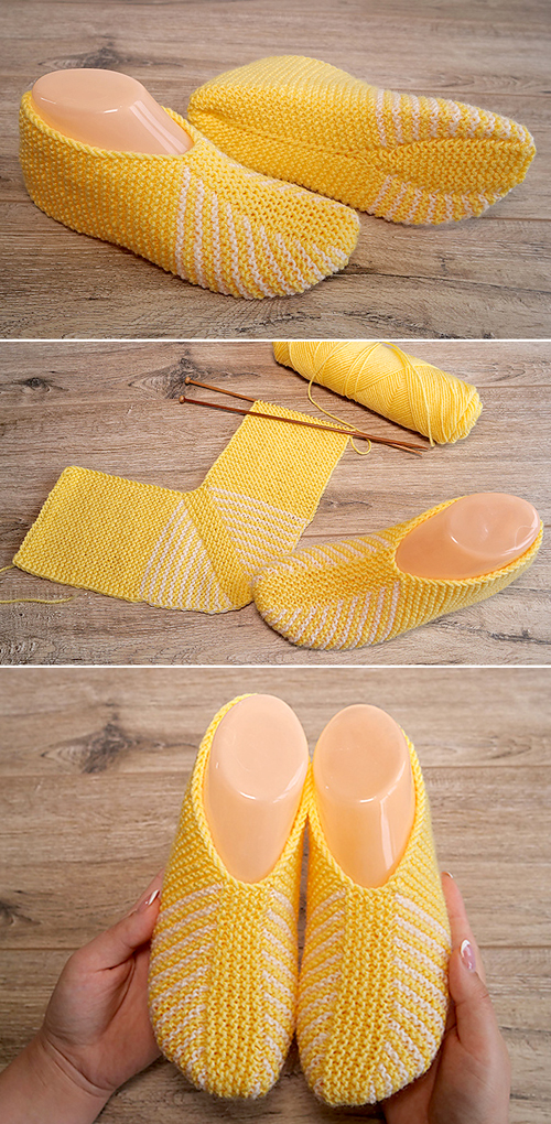 Yellow Easy Slippers - Free Knitting Pattern