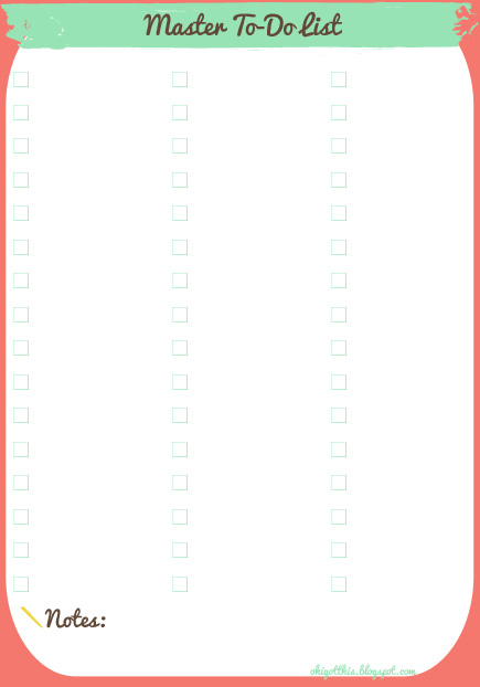 Oh, I Got This! Free Printable Planner Master To-Do and Shopping Lists