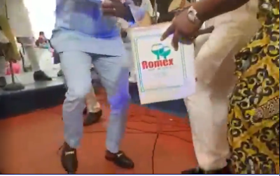 Femi Adebayo Shows His Zanku Dance Steps As He Sprays Cash At An Event
