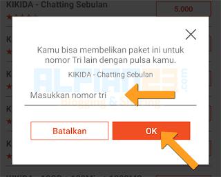 masukan nomor tujuan yang ingin dikirim paket chatting