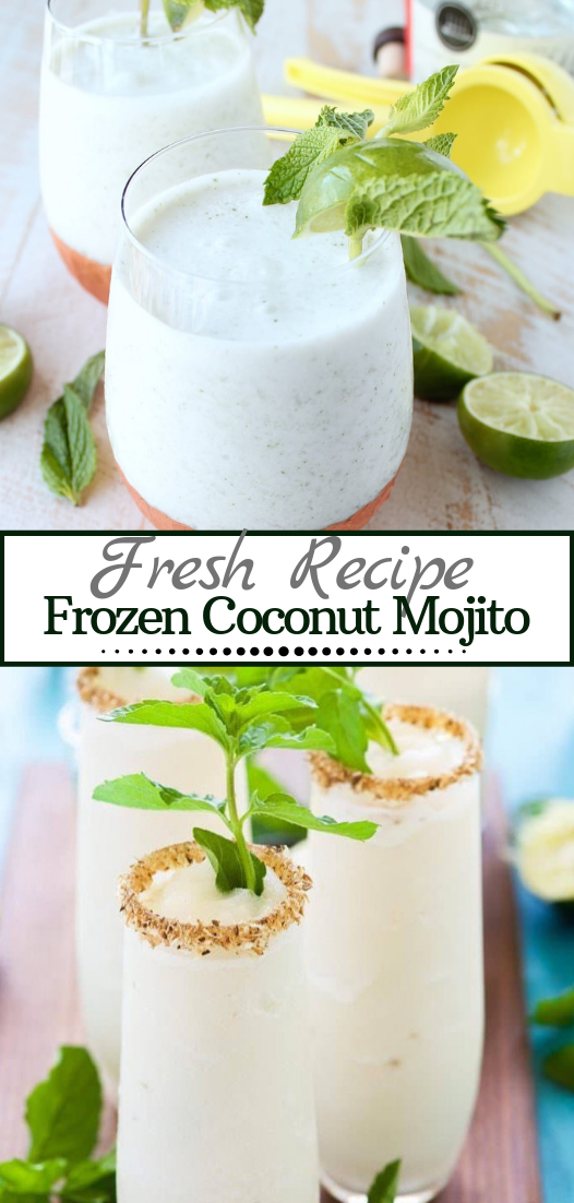 Frozen Coconut Mojito  #healthydrink #easyrecipe #cocktail #smoothie