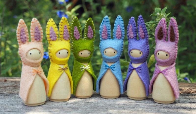waldorf felt rabbit peg dolls from small haven