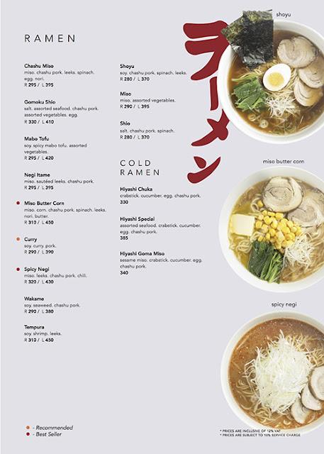 Kenji Tei Ramen House ramen menu