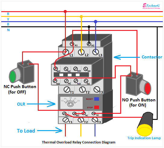 overload relay connection diagram, overload relay wiring diagram
