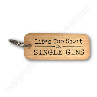Lifes Too Short for Single Gins wooden keyring By Wotmalike