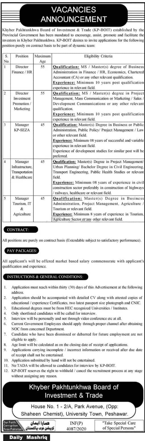 Jobs in KPK-Board of Investment and Trade Nov 2020