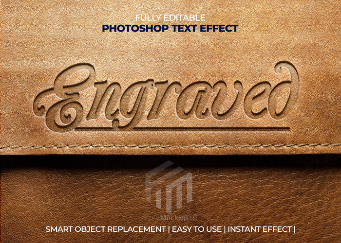Engraved Leather Editable Text Effect Psd Mockup