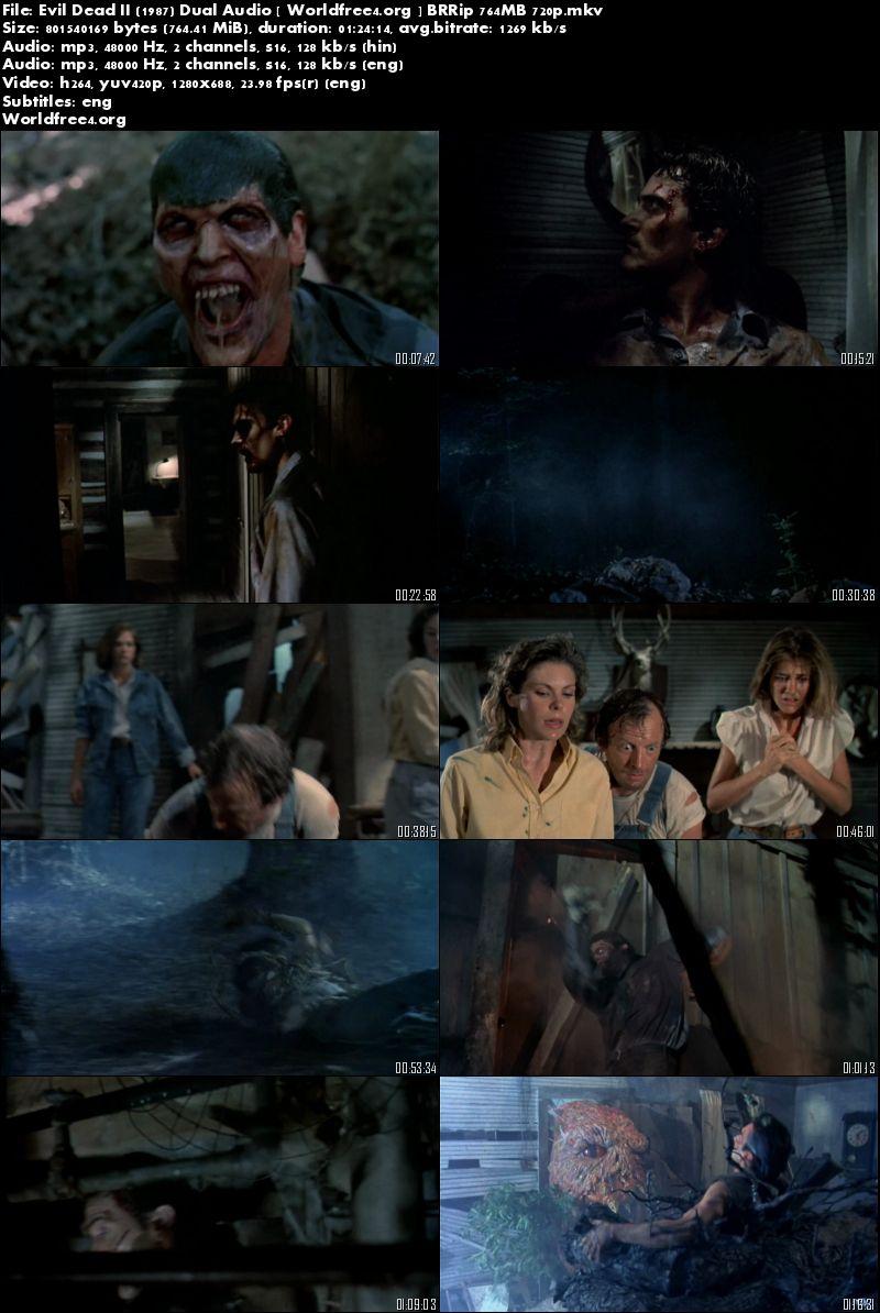 Evil Dead II (1987) Bluray Download Hindi 750Mb Dual Audio 720p