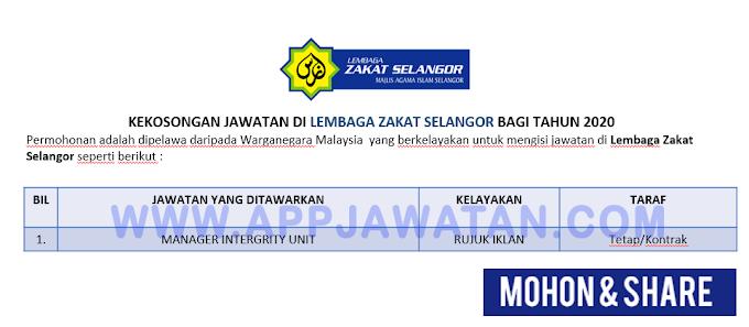 Jawatan Kosong Terkini di Lembaga Zakat Selangor.
