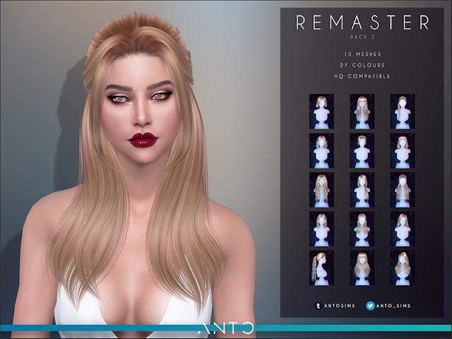 Anto - Remaster Pack 2 Анто - Ремастер, пакет 2 (Прически) для The Sims 4 Второй набор восстановленных волос. Переделан пакет с нуля, исправлены категории, переделаны волосы так, чтобы все они выглядели так же, как нынешние волосы. Включает 15 причесок. Автор: Anto Все прически можно увидеть на странице скачивания.