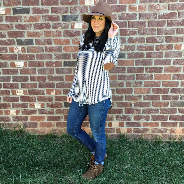 elbow patch stripe tunic, floppy hat