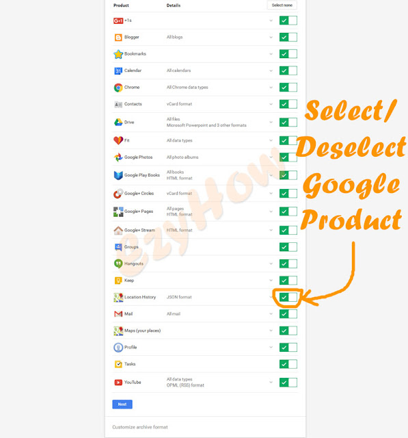 Select / Deselect Google Product