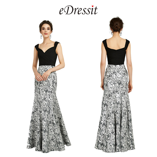 Elegant Velvet&Print Straps Evening Dress Prom Gown
