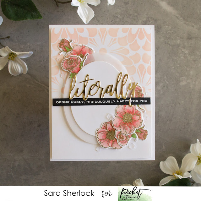 Daisy Burst Stencil, Beautiful Girl Flowers Stamp Set, Literally Word Die, Seriously Literally Stamp Set, Distress Oxide Ink Blending, Prismacolor Pencils, Colored Pencil Coloring, Picket Fence Studios, handmade card