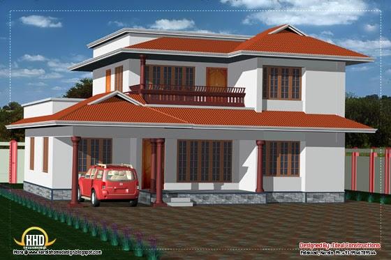 2 Story House Elevation 2050 Sq Ft Kerala Home