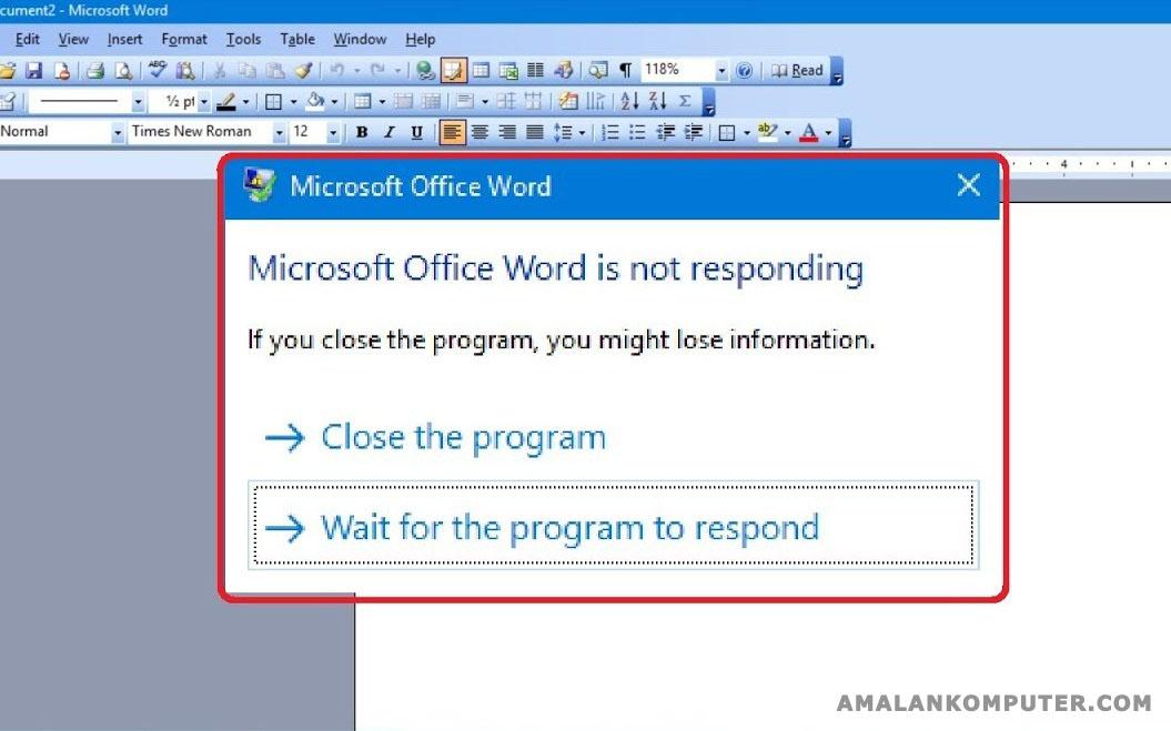 Penyebab Dan Mengatasi Microsoft Word 2016 2010 Not Responding Trik Tips Komputer Laptop 2021