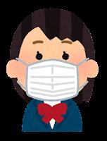 マスクを付けた人のイラスト(女子学生)