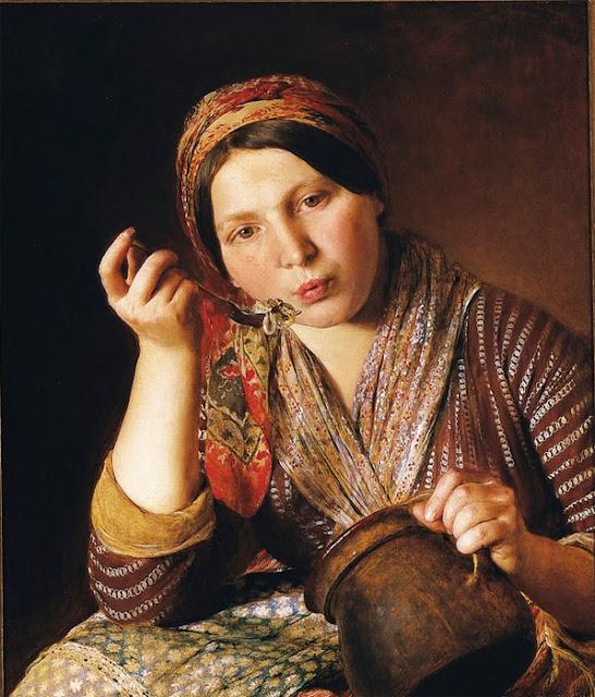 Johann Baptist Reiter - Женщина ест лапшу
