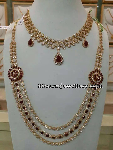 Ruby CZ Necklace and Long Sets