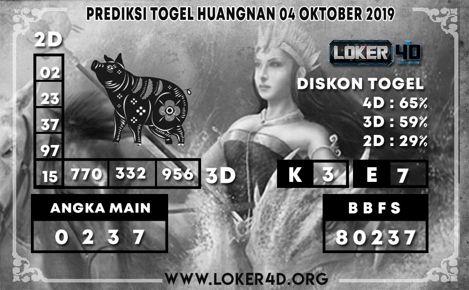 PREDIKSI TOGEL HUANGNAN LOKER4D 04 OKTOBER 2019