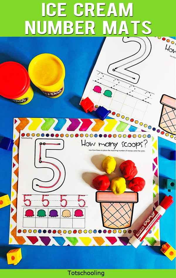 FREE printable Summer themed number and counting mats featuring ice cream! Preschool and kindergarten kids will love to practice tracing numbers and creating ice cream scoops to match the quantity!