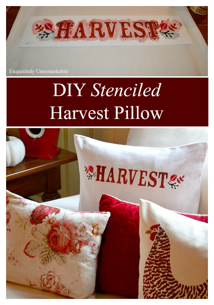DIY Stenciled Harvest Pillow For Fall