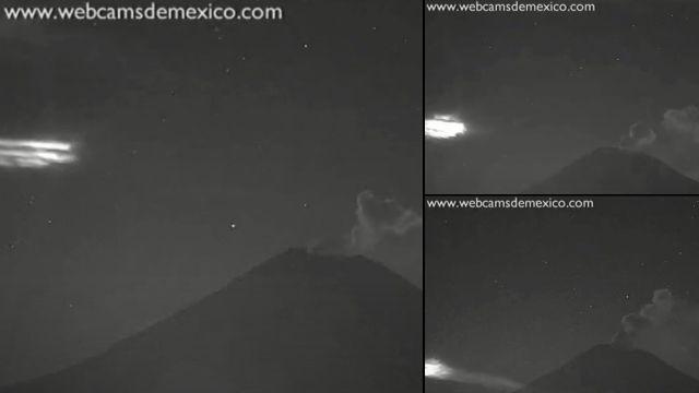 Extraña luz desciende cerca del Volcán Popocatépetl, 18 de enero de 2021