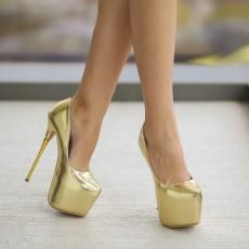Pantofi auriu de ocazii cu toc si platforma inalta online