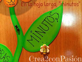 Hojas-del-tallo-escrita-la-palabra-minutos-diy-reloj-primaveral-para-aprender-las-horas-Crea2conPasión-en-goma-eva-y-abeja-y-hormiga-en-pasta-modelar