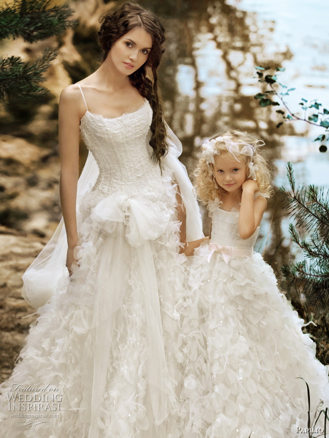 Matching flower girl dresses to bridal gowns belle the for Little flower girl wedding dresses