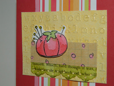 Card Details - pincushion, polka dot paper, book scrap, embossed tag and striped paper