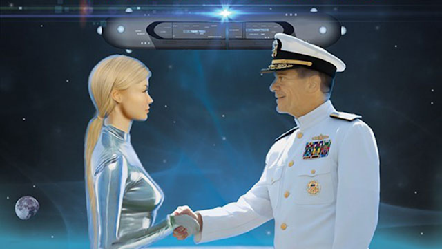 Aliens And humans have a working relationship between each other with a mutual base on Mars.