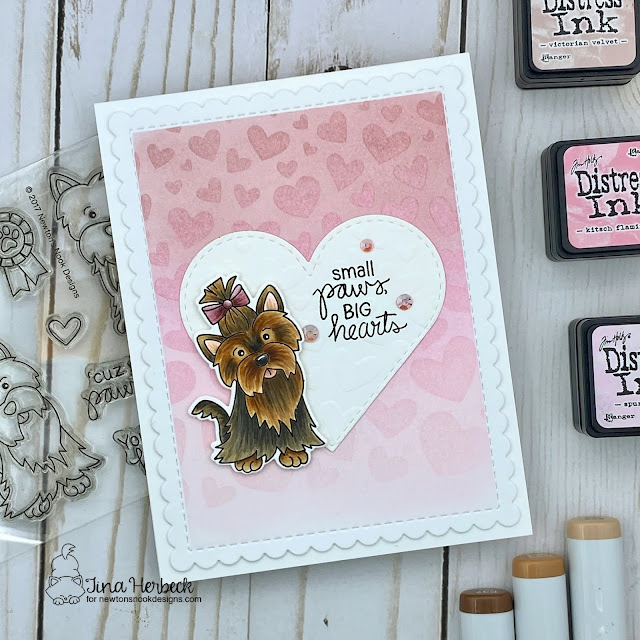 Big Hearts Dog Card by Tina Herbeck | Terrific Terriers Stamp Set, Tumbling Hearts Stencil, Heart Frames Die Set, and Frames & Flags Die Set by Newton's Nook Designs #newtonsnook