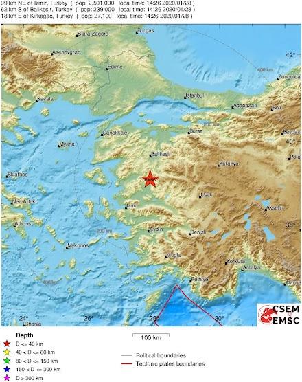 Ισχυρός σεισμός κοντά στην Σμύρνη της Τουρκίας