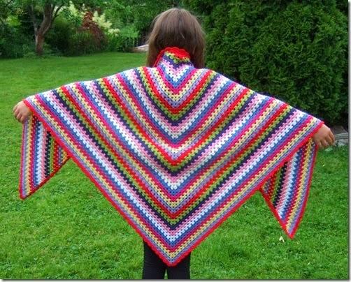 Crochet Triangular Shawl Multicolor