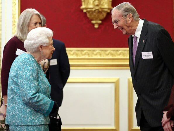 Queen Elizabeth II, as Patron of Cruse Bereavement Care, attended a reception held at St James's Palace in London
