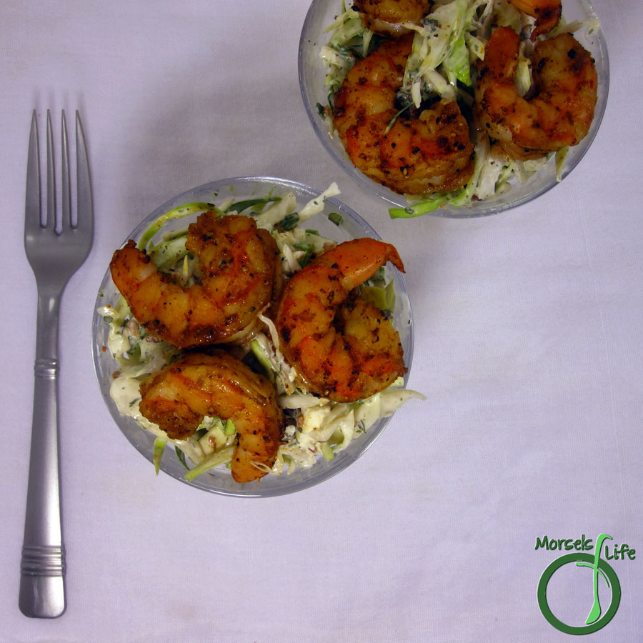 Morsels of Life - Shrimp Cole Slaw - Spicy shrimp served atop a bed of cole slaw with bacon mixed in.