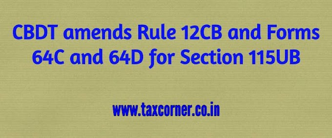 CBDT amends Rule 12CB and Forms 64C and 64D for Section 115UB