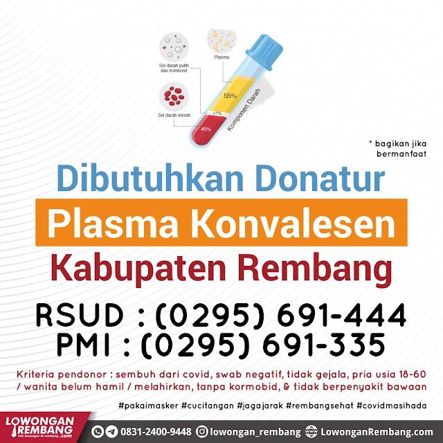 Dibutuhkan Donatur Plasma Konvalesen Kabupaten Rembang