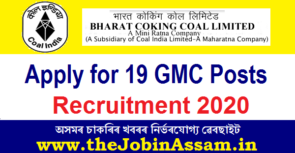 BCCL Recruitment 2020: Apply for 19 GMC Posts