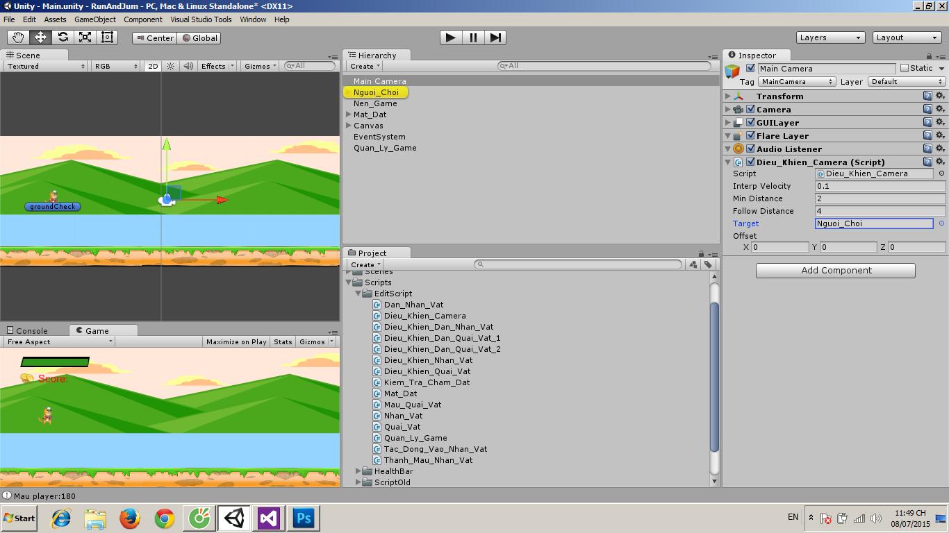 Unity 2d Camera Follow Script, Camera Controller Script Code